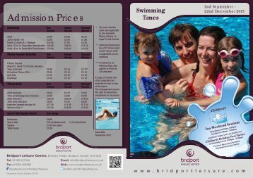 Term Time Swimming Timetable 2nd September - Bridport Leisure