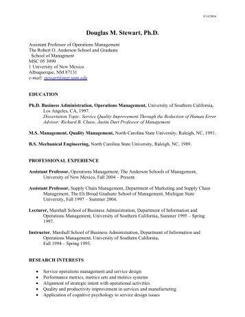 Douglas M. Stewart, Ph.D. - Anderson School of Management ...