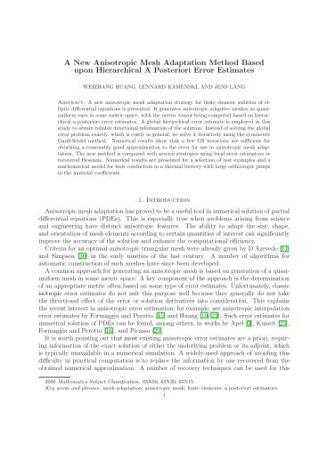 A New Anisotropic Mesh Adaptation Method Based upon ...