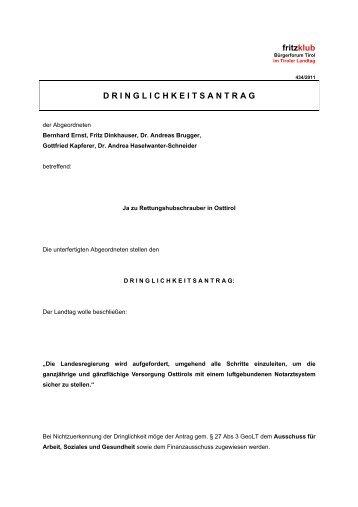 (Dringlichkeits-) Antrag: Rettungshubschrauber - Liste Fritz