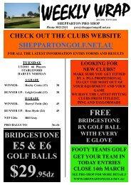 Weekly Wrap 6th March 2011 - Shepparton Golf Club
