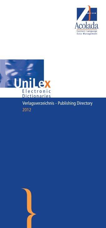 Verlagsverzeichnis - Publishing Directory 2012 - Acolada Gmbh