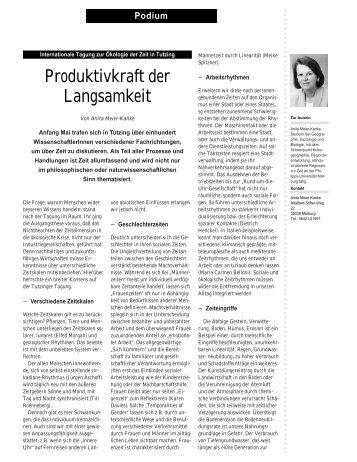 Anita Meier-Kanke - Produktivkraft der Langsamkeit