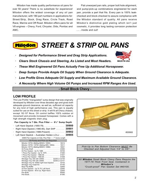 Milodon 30401 Street And Strip Style Deep Sump Oil Pan