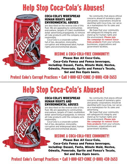 Help Stop Coca Colas Abuses Campaign To Stop Killer Coke