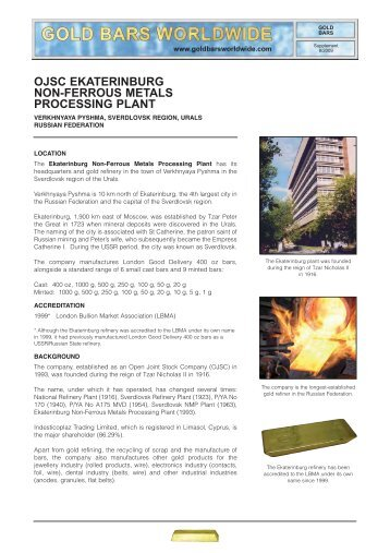 OJSC Ekaterinburg Non-Ferrous Metals Processing Plant