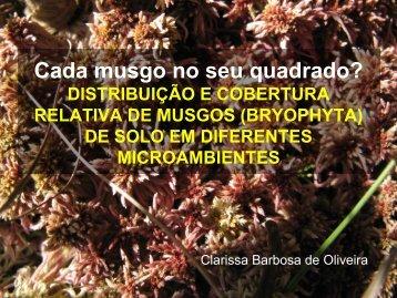 Distribuição e COBERTURA RELATIVA de musgos (BRYophyta)