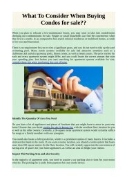 What To Consider When Buying Condos for sale??