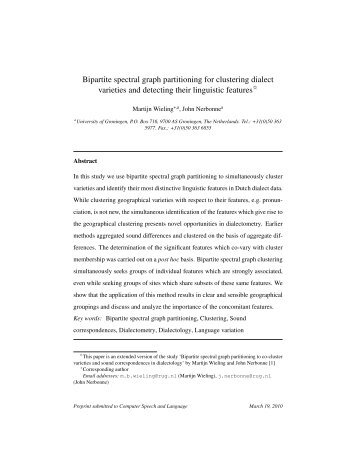 Bipartite spectral graph partitioning for clustering dialect varieties ...
