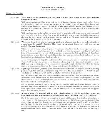 Homework Set 8: Solutions Due: Friday, October 22, 2010 Chapter ...