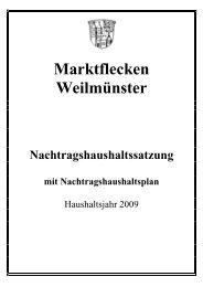 Nachtragshaushaltsplan 2009 - Weilmünster