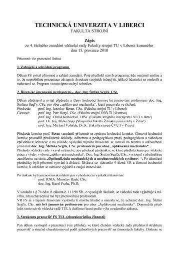 15. prosinec - Fakulta strojní - Technická univerzita v Liberci