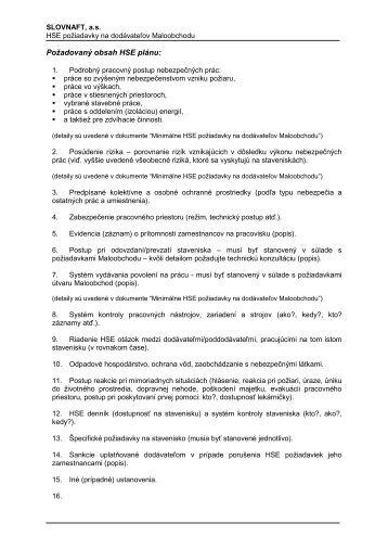 Požadovaný obsah HSE plánu (pdf, 164 kB) - Slovnaft