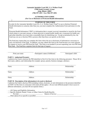 Instructions For The Use Of The HipaaCompliant Authorization Form