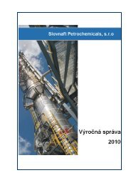 Slovnaft Petrochemicals - výročná správa za rok 2010 (pdf, 2.1 MB)