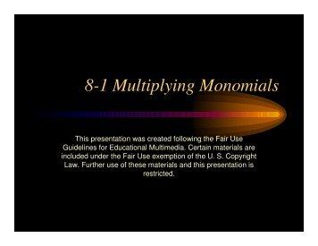 8-1 Multiplying Monomials - Mona Shores Blogs