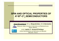 SPIN AND OPTICAL PROPERTIES OF SEMICONDUCTORS - CINaM