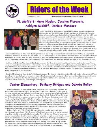 Week 15, February 6, 2013 - Center ISD