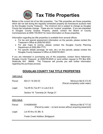 (DOUGLAS COUNTY) TAX TITLE PROPERTIES