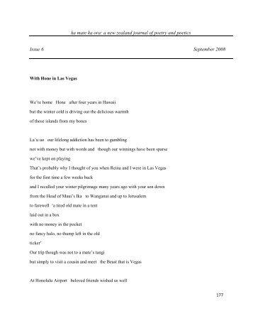 ka mate ka ora: a new zealand journal of poetry and poetics