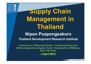 Supply Chain Management in Thailand - LIRNEasia