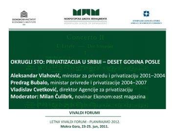 G. Aleksandar Vlahović, ministar za privredu i privatizaciju 2001–2004