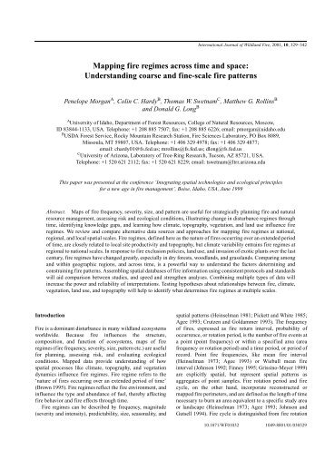 Mapping fire regimes across time and space: Understanding coarse ...