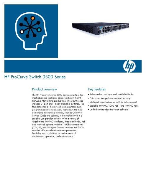 HP ProCurve Switch 3500 Series data sheet - 1stAdvance com