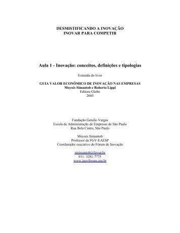 Aula 1 - Inovação: conceitos, definições e tipologias - FESP