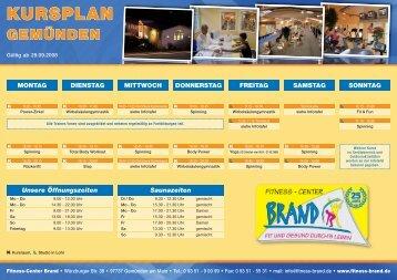 KURSPLAN - Fitness-Center Brand