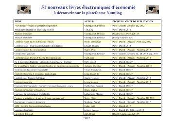 51 nouveaux livres électroniques d'économie