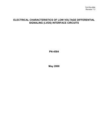 ELECTRICAL CHARACTERISTICS OF LOW VOLTAGE ...