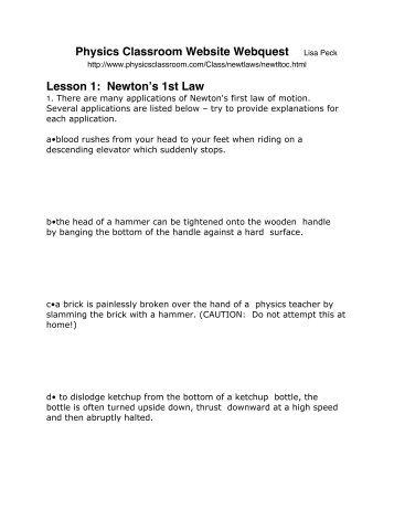 Physics Classroom Website Webquest Lisa Peck Lesson 1 ...