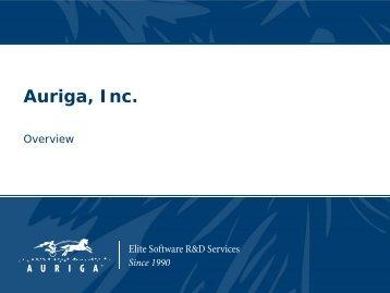 Auriga Company Overview - Auriga, Inc.