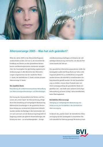 Altersvorsorge 2005 – Was hat sich geändert? - RFinanz