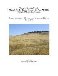 Grasshopper Sparrow Survey Report 2005 - Western Riverside ...