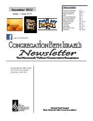 December 2012 - Congregation Beth Israel
