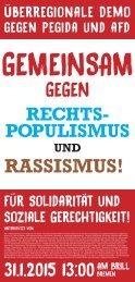 Aufruf zur Demonstration und Kundgebung am 21. Januar 2015 in Bremen