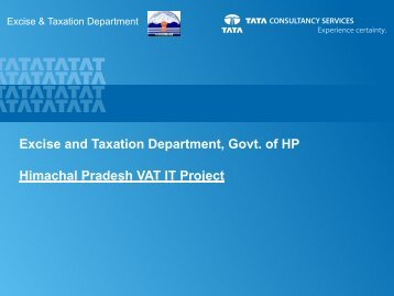Excise and Taxation Department, Govt. of HP ... - egovreach