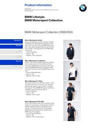Product information BMW Motorsport Collection 2008/2009. BMW ...