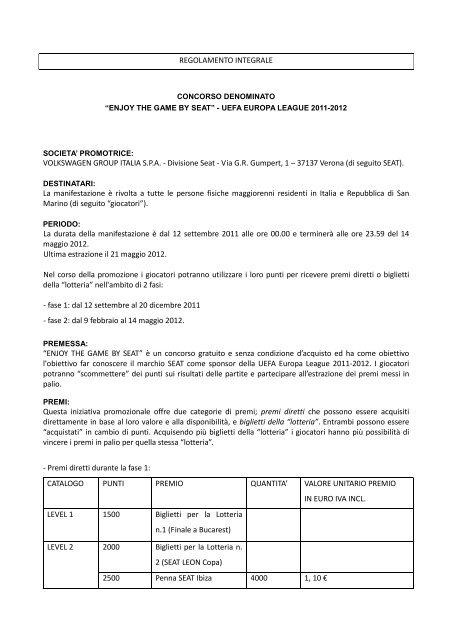 ENJOY THE GAME BY SEATregolamento - SEAT Italia