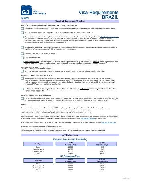 Brazil Visa Requirements G3 Visas Passports