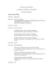 Collections and Compilations A conference at CRASSH, 18-19 ...