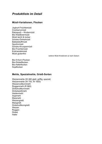 Produktliste im Detail - Sagmeister Mühle