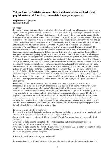 Valutazione dell'attivita antimicrobica e del meccanismo di azione di ...