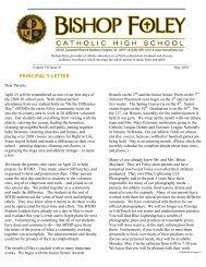 PRINCIPAL'S LETTER - Bishop Foley Catholic High School
