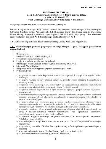 Nr XXII/2012 - Biuletyn Informacji Publicznej - BIP