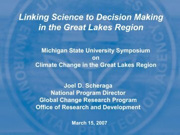 Linking Science to Decision Making in the Great Lakes Region