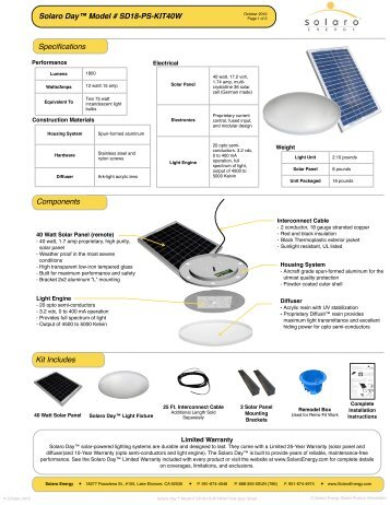 Solaro Day Model # SD18-PS-KIT40W Final Spec ... - Solaro Energy