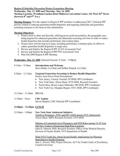 DRAFT Region II IPP Agenda Items - Cicatelli Associates Inc